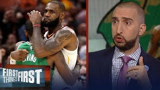 Nick Wright on how a LeBron - Kyrie Irving reunion would work in Boston | NBA | FIRST THINGS FIRST