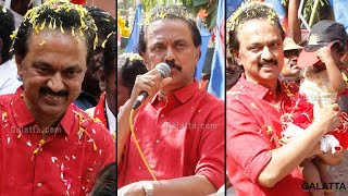 DMK's Marudhu Ganesh & his supporters parade on the streets   RK Nagar election campaign last day