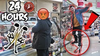 24 HOUR ROBOT LEGS CHALLENGE!! (BIONIC JUMPING STILTS IN PUBLIC)