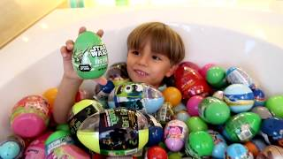 Surprise Eggs Bath - Star Wars Spider Man Toys etc