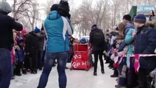 Raw: Daredevils Slide on Homemade Ice Track