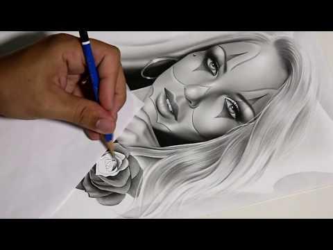 Charles Laveso finalizando um desenho da 2ª Série de Desenhos Realistas para Tattoo