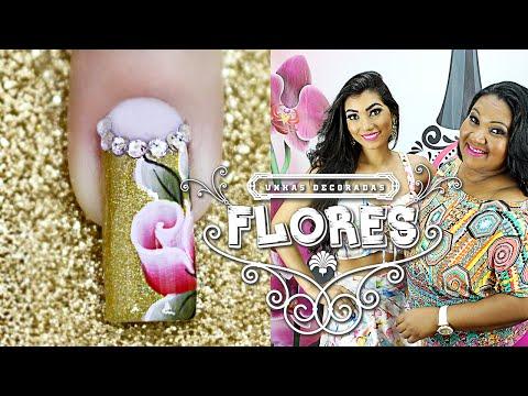 Unhas Decoradas Passo a Passo com Flores para Natal nail art tutorial Cola na Villar