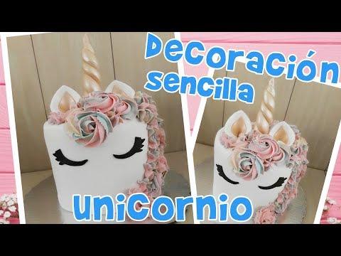 DECORACION SENCILLA PASTEL UNICORNIO PASTELUNICORNIO CAKEUNICORNIO