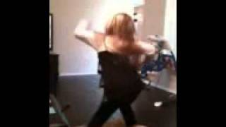 Funny girl falls and does the splits