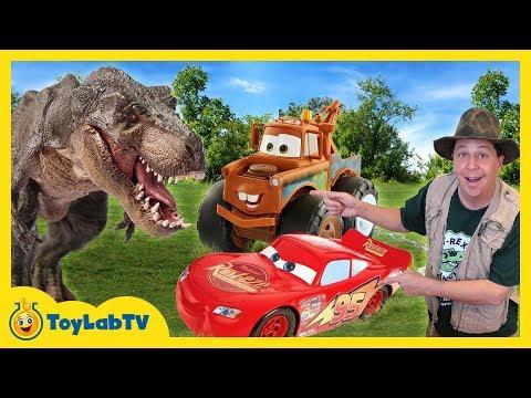 T REX DINOSAUR CHASE & CARS TOY HUNT Disney Pixar Cars 3 Lightning McQueen Surprise Toys Kids Truck