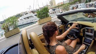 Pretty Russian Girl Drives Porsche Boxster in Montecarlo along the F1 Circuit