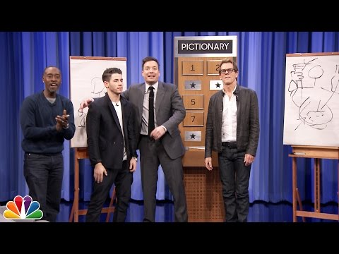 Pictionary with Kevin Bacon Don Cheadle and Nick Jonas