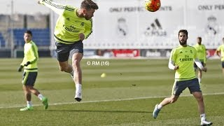 Sergio Ramos practices headers in training