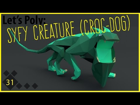 Let's Poly: Syfy Dog Creature Monster Thingamabob (Blender Time Lapse)