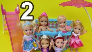 PART 2! Pool Party - Elsa and Anna toddlers ! Water Slide ! Rapunzel, Ariel