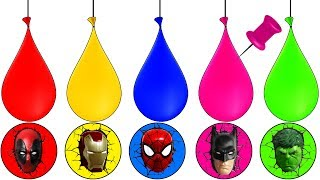 Paint Balloons Blasting Learning Colors Super Heroes Finger Family Song