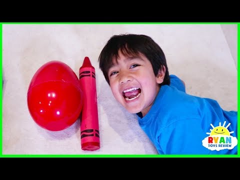 Ryan Pretend Play and Learn Colors with Giant Crayons Egg Surprise Toys