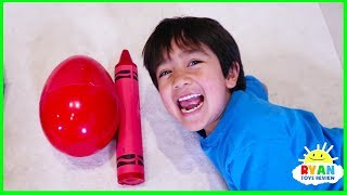 Ryan Pretend Play and Learn Colors with Giant Crayons Egg Surprise Toys!