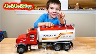 Playing with Bruder Toy Trucks - Unboxing Fuel Truck Surprise Box with a Crane