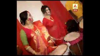 Actress Aparajita Auddy celebrates Vijaya Dashami with playing drum and dance