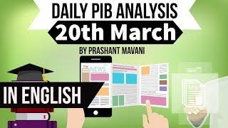 English 20 March 2018 - PIB - Press Information Bureau news analysis for UPSC IAS UPPCS MPPCS SSC