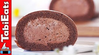 NO OVEN Chocolate Roll Cake (Swiss Roll Recipe)