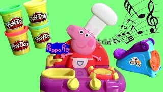 Cooking in the Kitchen with Peppa Pig Sing Along Kitchen Set - Learn ABC using Play Doh Fun Factory