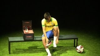 Neymar presents new soccer shoes before leaving to Spain