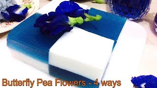 BUTTERFLY PEA FLOWER TEA - 4 WAYS ( blue tea, purple lemonade, blue rice, blue coconut pudding)