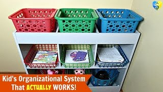 """Kid's """"Dollar Tree"""" Organizational System That Actually Works!"""