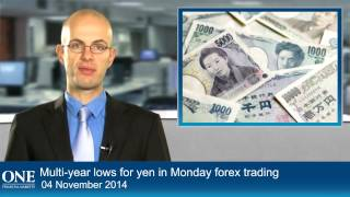 Multi-year lows for yen in Monday forex trading