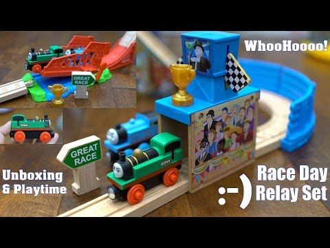 Thomas & Friends The Great Race Race Day Relay Set Wooden Railway Unboxing w Marxlen