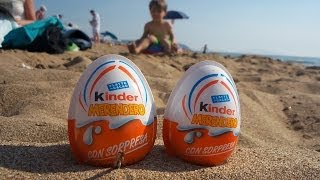 Kinder Surprise Joy Toys: on a Beach Opening + Playground Fun