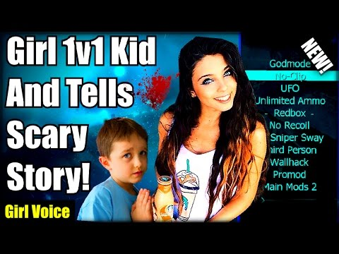 Black Ops 2 Cute Kid 1v1 Trickshot Girl And Gets SCARED Girl Voice Trolling SCARY MODS XBOX ONE
