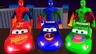 COLOR CARS MCQUEEN on BUS and Spiderman Cartoon 3D with Superheroes for Children Nursery Rhymes 😊😊