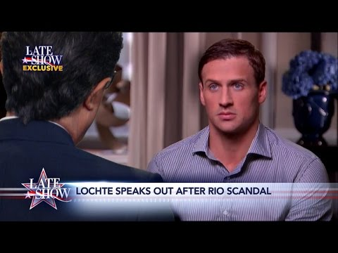 Late Show Exclusive Ryan Lochte Comes Clean to Stephen Colbert