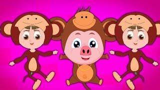 Fünf kleine Affen | Lieder für Kinder | Baby reimt sich | Five Little Monkeys | Popular Nursery Song