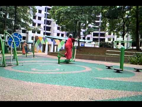 Exercising Indian Aunty at Jurong West 1
