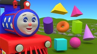 Learn about 3d shapes with Choo-Choo Train – part 1. Educational cartoon for  children grade 1