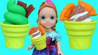 ICE CREAM truck ! Elsa and Anna toddlers enjoy ice cream!