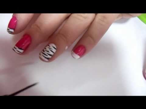 decoração especial unhas curtas zebra rosa