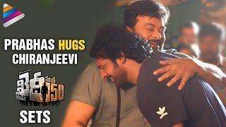 Prabhas Hugs Chiranjeevi   Baahubali 2 Team at Khaidi No 150 Movie Sets   Baahubali 2 First Look
