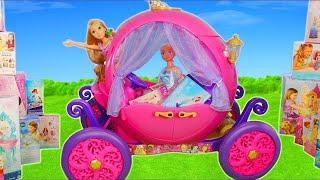 Princess Dolls Carriage: Cinderella, Rapunzel, Frozen Elsa, Belle & Ariel Dollhouse Toys for Kids