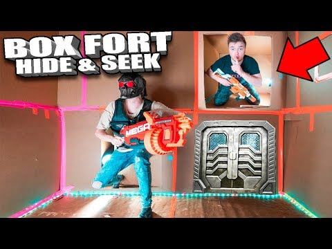 BOX FORT NERF HIDE AND SEEK CHALLENGE 📦In The Worlds Biggest Box Fort