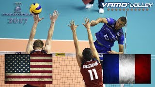 ALL BREAKS REMOVED - USA v France - FIVB World League 2017 Pool Play