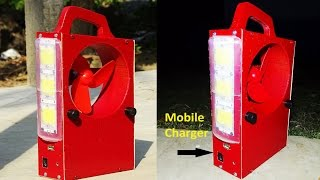 How to Make  Powerful Rechargeable Emergency Light ,Fan ,Mobile Charger at Home( 3 In one )