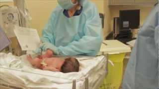 Dad with His Newborn Presenting Baby To Mom