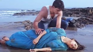 Man saves Ashwini Bhave on the beach   Teri Mohabbat Ke Naam Hindi Movie   Bollywood Scene