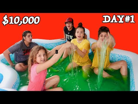 LAST TO LEAVE SLIME POOL WINS 10.000 DOLLAR DAY 1 SISTER FOREVER