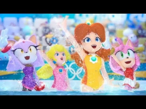 Mario & Sonic at the London 2012 Olympic Games - Synchronized Swimming (All Characters)