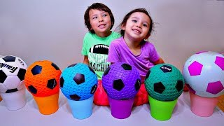 Toddlers Playing Wrong Color Soccer Ball Activity To Learn Colors