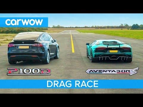 Lamborghini Aventador vs Tesla Model X DRAG & ROLLING RACE Can an EV SUV beat a supercar