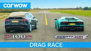 Lamborghini Aventador vs Tesla Model X - DRAG & ROLLING RACE - Can an EV SUV beat a supercar?
