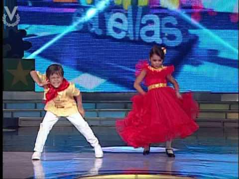 Mini estrellas Pablo Vielma y Roderly Amaya bailando La Pollera Colorada 13 04 2013